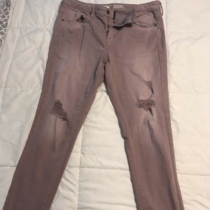 Mossimo distressed skinny mauve jeans